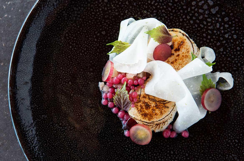 Hervey bay scallop, radish, grape, nashi