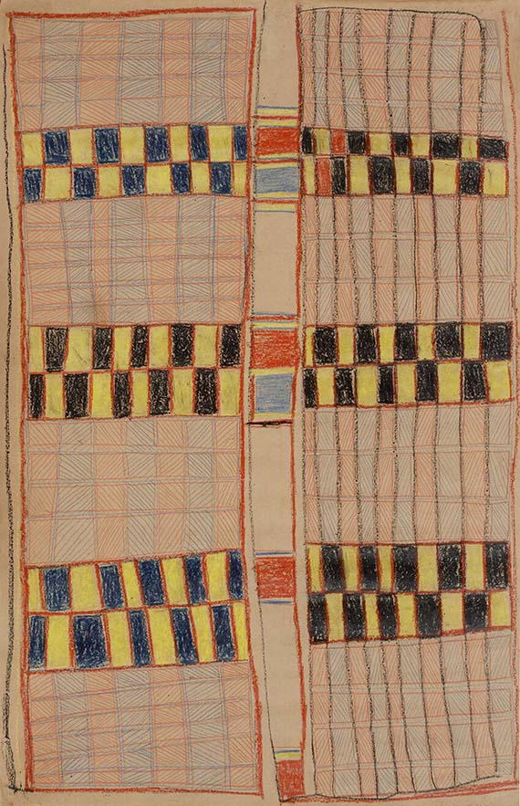 Crayon drawing on brown paper, Ronald M. Berndt Collection, Yirrkala NT 1946-47. Held by the University of Western Australia, Berndt Museum of Anthropology. Copyright of the Artist C/- Buku-Larrnggay Mulka Centre, Yirrkala NT.
