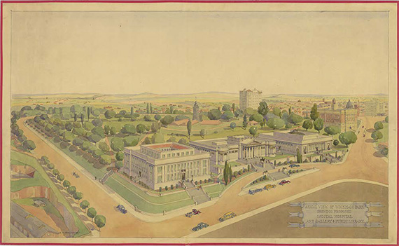 Wickham Park aerial view with proposed Dental Hospital, Art Gallery and Public Library, 1938 / QSA Item ID328720