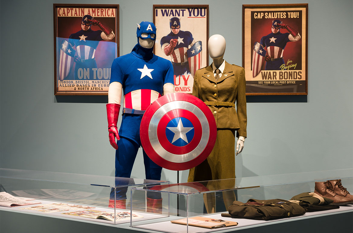 Installation view of the Captain America: Living legend room, Marvel: Creating the Cinematic Universe, GOMA 2017