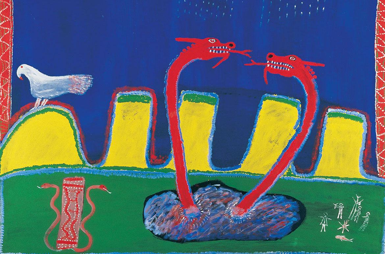 Ginger Riley Munduwalawala, Garimala (The Two Snakes) 1988