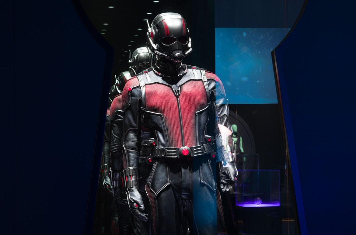 Installation view of Ant-Man in the 'Alternate dimensions' room, 'Marvel: Creating the Cinematic Universe', GOMA 2017
