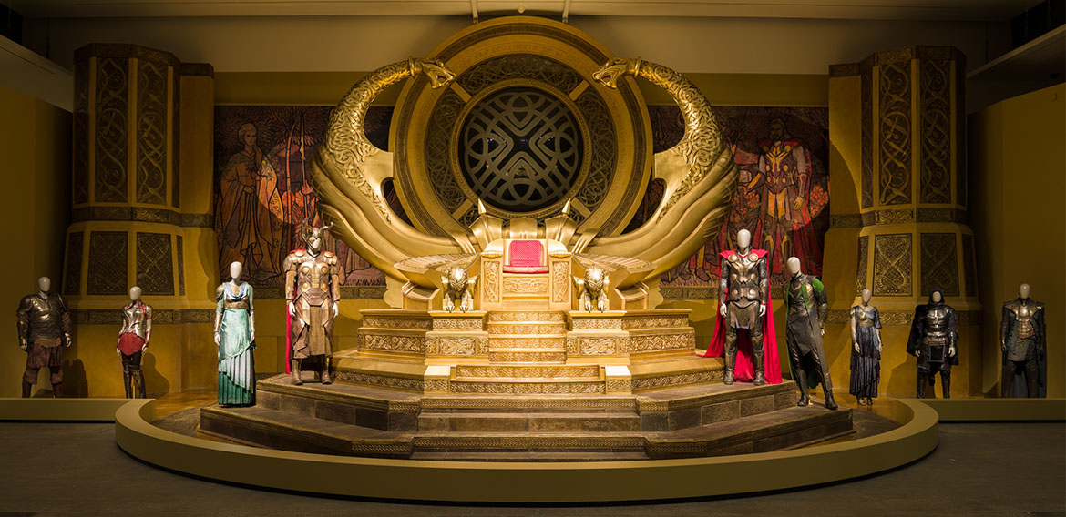 Installation view of the majestic Asgardian throne room from the upcoming Marvel film Thor: Ragnarok 2017, 'Marvel: Creating the Cinematic Universe', GOMA 2017