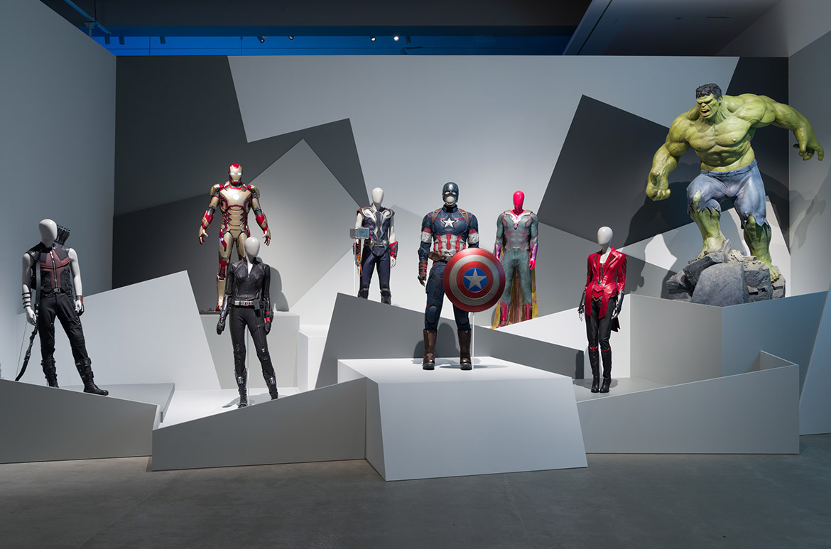 Installation view of 'Marvel: Creating the Cinematic Universe' with chatacters from Avengers: Age of Ultron, GOMA 2017