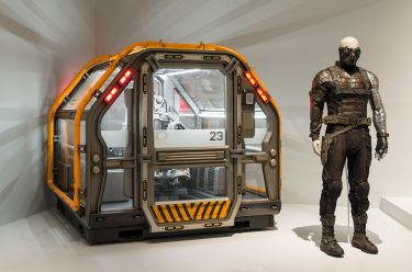 Installation view of 'The Avengers' room with Captain America: Civil War props, 'Marvel: Creating the Cinematic Universe', GOMA 2017