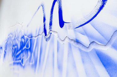 Dale Harding working on his commission Wall Composition in Reckitt's Blue