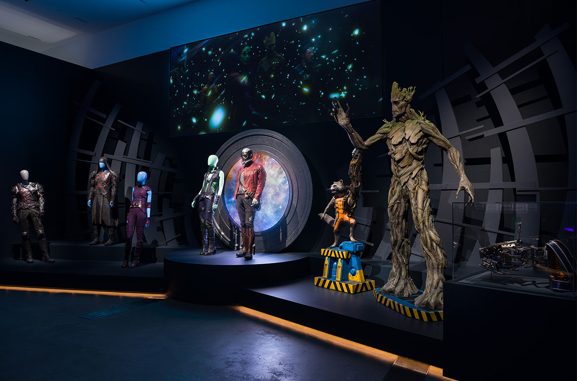 Installation view of the 'Alternate dimensions' room with Guardians of the Galaxy props, 'Marvel: Creating the Cinematic Universe', GOMA 2017