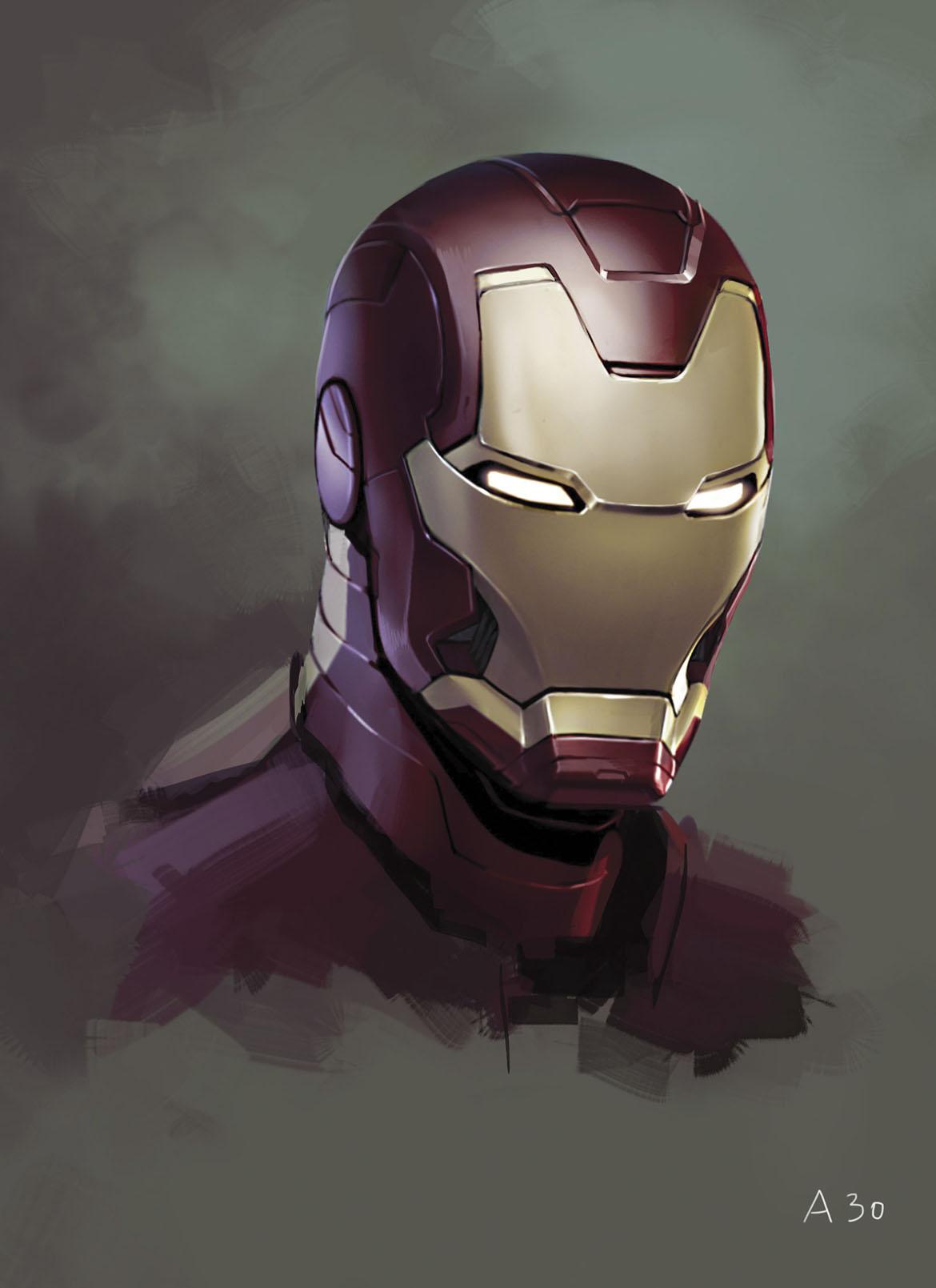 Ryan Meinerding / Head no.1 / Concept art for Iron Man 3 2013 / © 2017 MARVEL